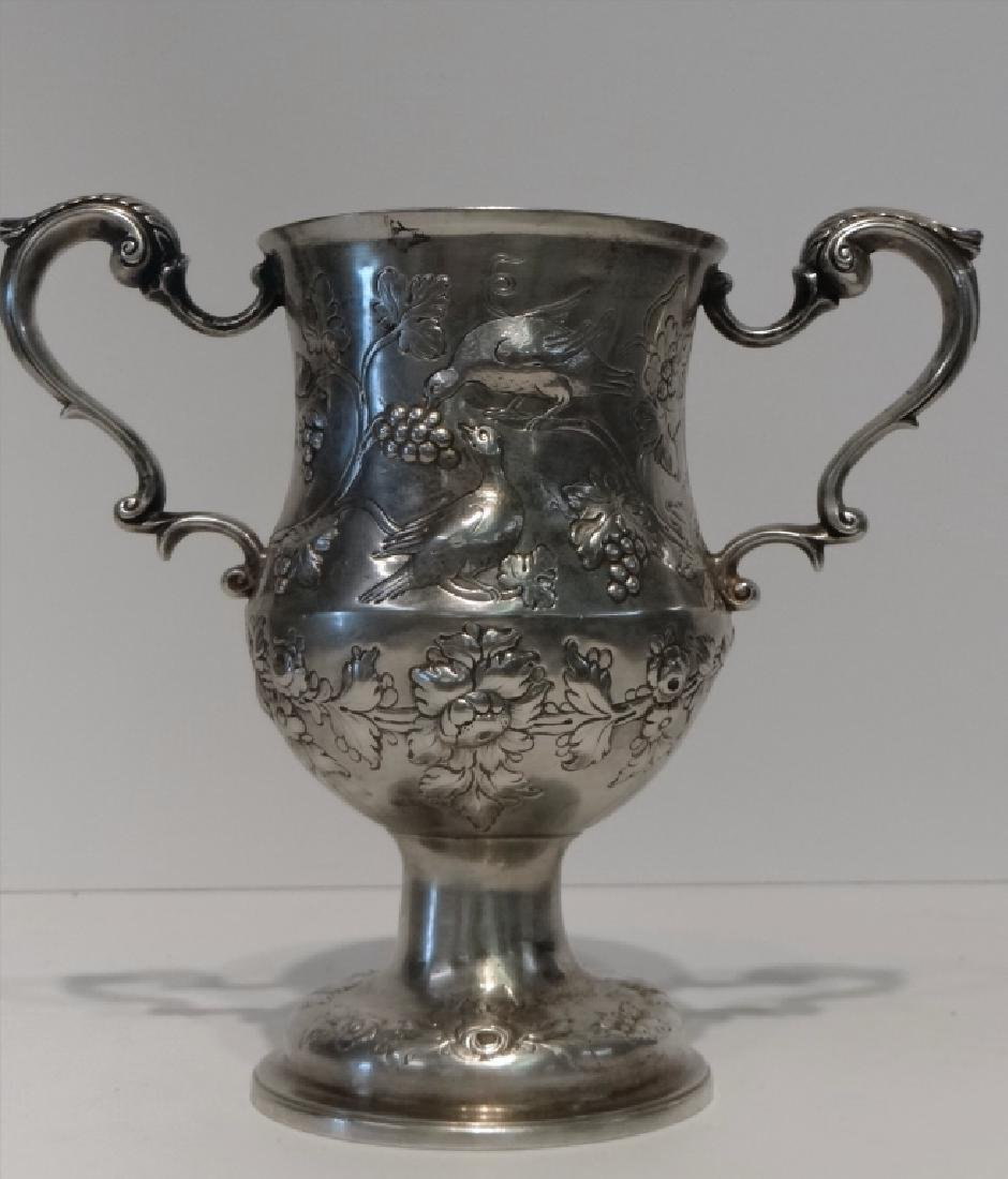 IRISH STERLING DOUBLE HANDLED CUP C.1770 W/ - 4