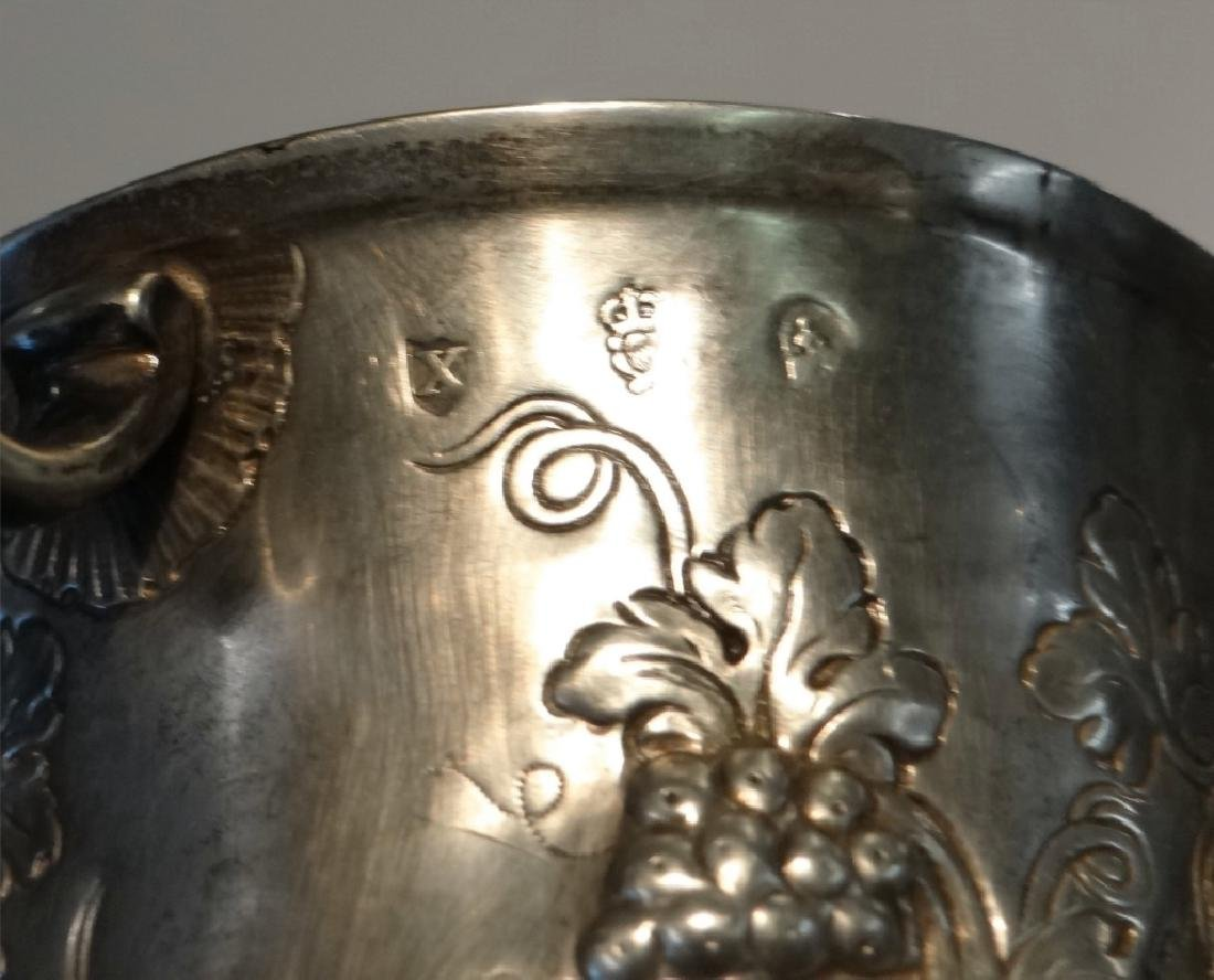 IRISH STERLING DOUBLE HANDLED CUP C.1770 W/ - 5
