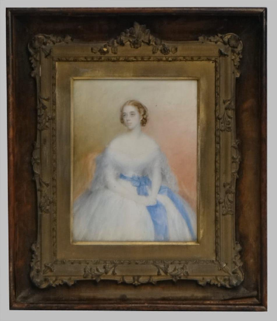 WATERCOLOR PORTRAIT OF A DEBUTANTE LABELED