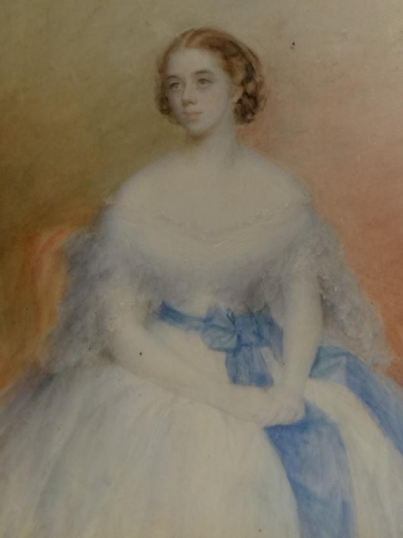 WATERCOLOR PORTRAIT OF A DEBUTANTE LABELED - 2