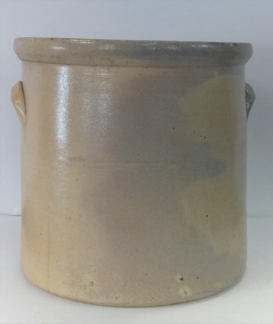 4 GAL. SALT GLAZED CROCK W/ COBALT BIRD DECORATION - 2