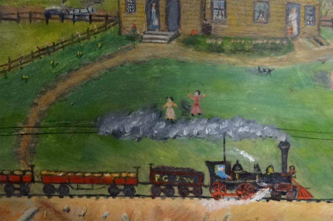 O/MASONITE FOLK ART FARM YARD SCENE W/ TRAIN, - 4