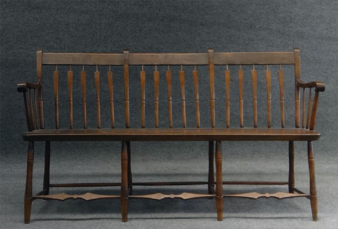 "ARROWBACK PLANK SEAT  WINDSOR BENCH 59"" LONG"