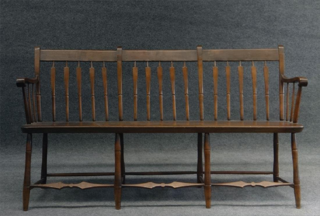 "ARROWBACK PLANK SEAT  WINDSOR BENCH 59"" LONG"