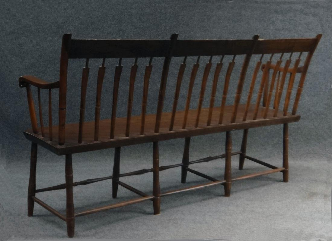 "ARROWBACK PLANK SEAT  WINDSOR BENCH 59"" LONG - 3"