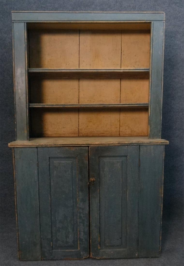 19THC. GREEN OPEN TOP STEPBACK CUPBOARD