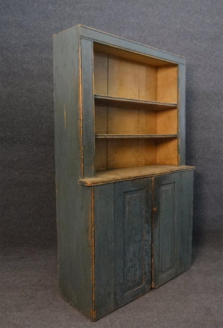 19THC. GREEN OPEN TOP STEPBACK CUPBOARD - 2