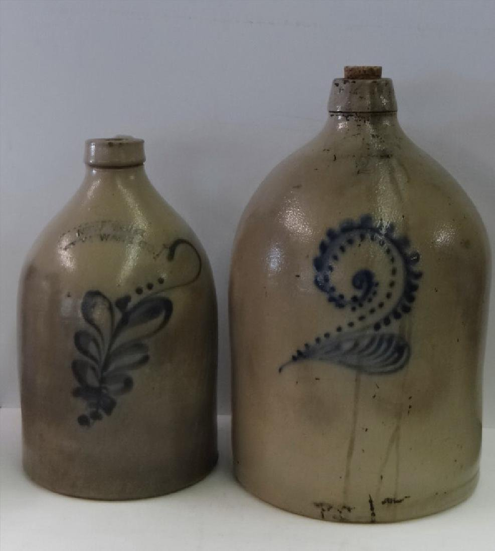 2 SALT GLAZED JUGS W/ COBALT DECORATION