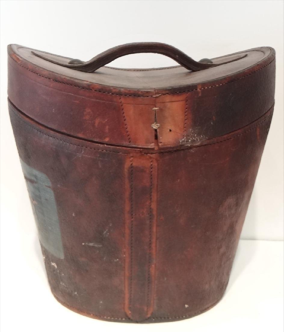 LEATHER HAT BOX W/ STOVE PIPE HAT BY SIMPSON& - 4