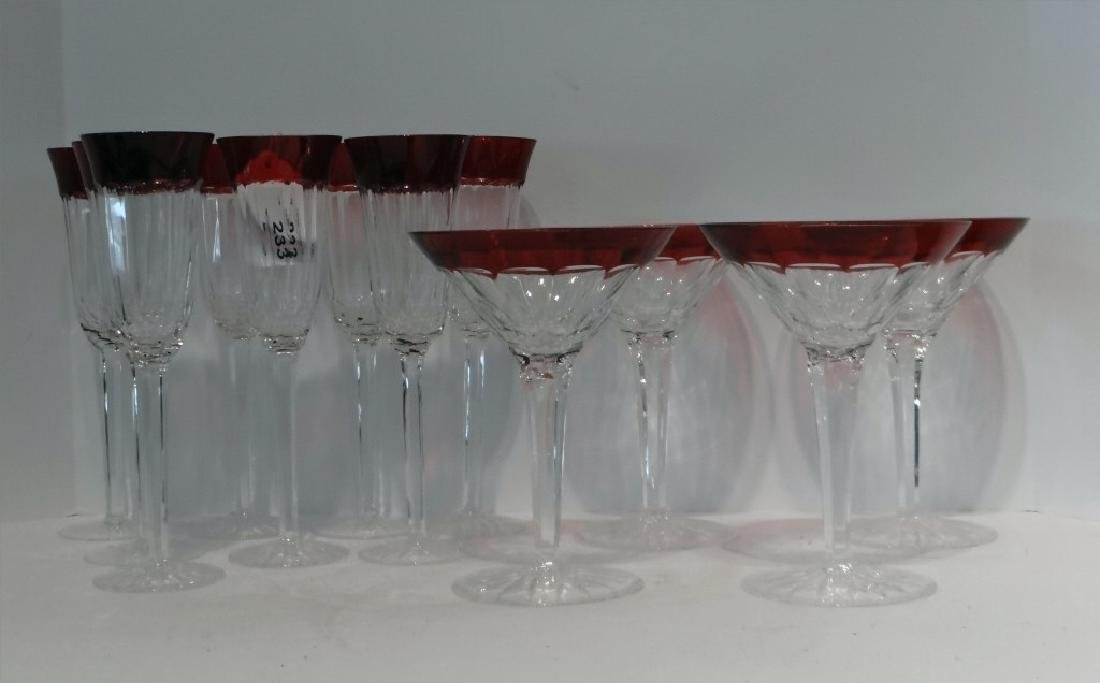 12 RUBY & CLEAR WATERFORD CRYSTAL STEMWARE