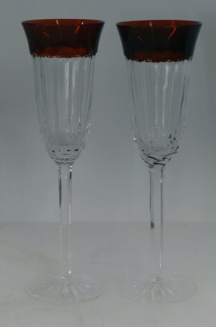 12 RUBY & CLEAR WATERFORD CRYSTAL STEMWARE - 3