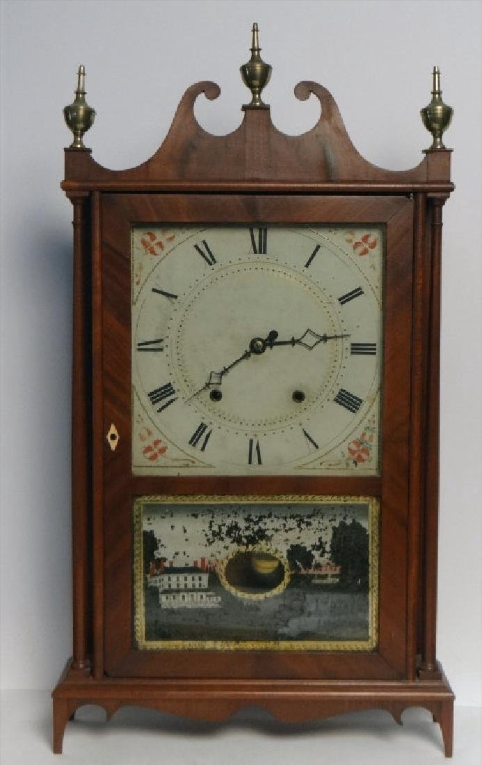 ELI TERRY PILLAR & SCROLL CLOCK W/ WEIGHTS &