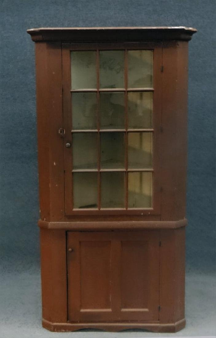 RED CORNER CABINET W/ 12 LIGHT GLAZED TOP DOOR