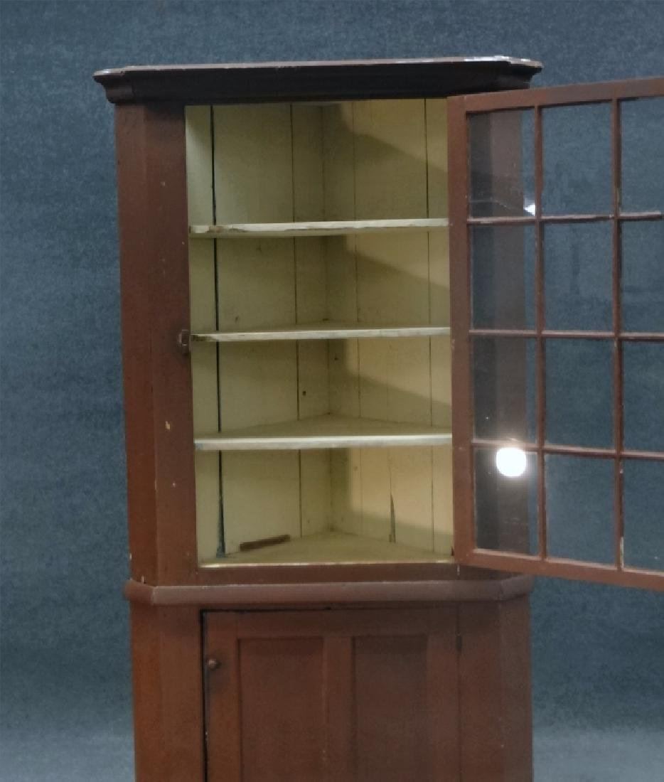 RED CORNER CABINET W/ 12 LIGHT GLAZED TOP DOOR - 2