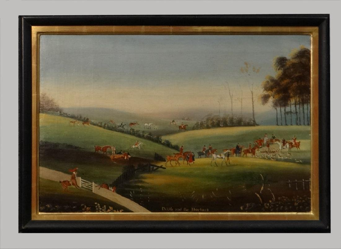 """19THC. ENGLISH  HUNT SCENE """"DEATH AND THE DOCTORS"""""""