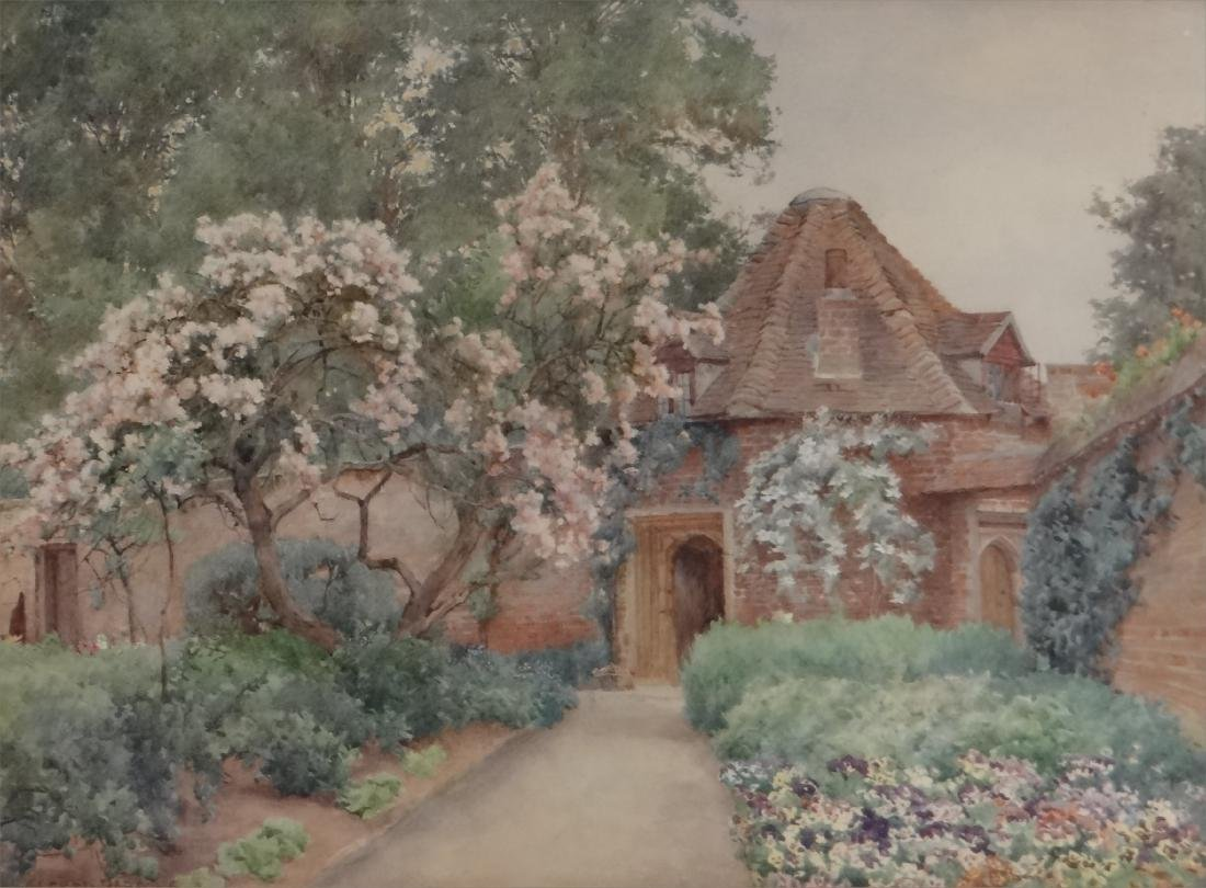 """WATERCOLOR """"FLOWER FILLED PATH TO THE COTTAGE"""" - 2"""