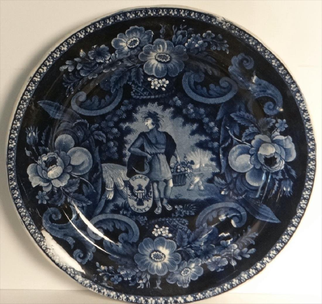 3 HISTORICAL DARK BLUE PLATES BY CLEWS - 2