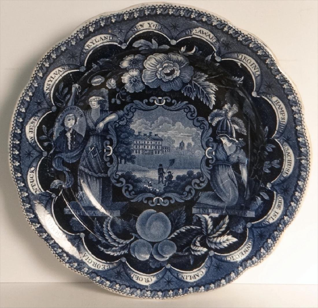 3 HISTORICAL DARK BLUE PLATES BY CLEWS - 5
