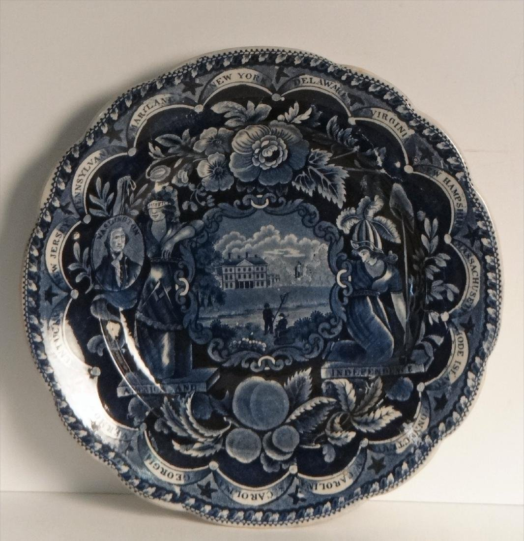 3 HISTORICAL DARK BLUE PLATES BY CLEWS - 8