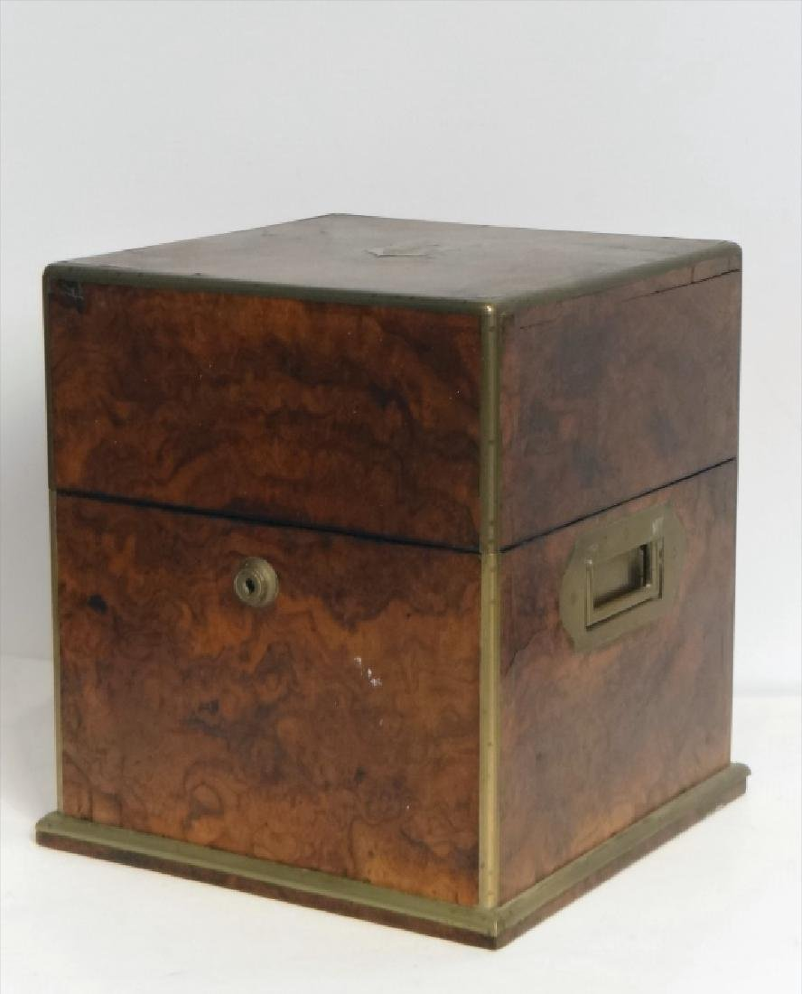 BRASS BOUND BURL WALNUT SPIRITS BOX W/ DECANTERS - 2