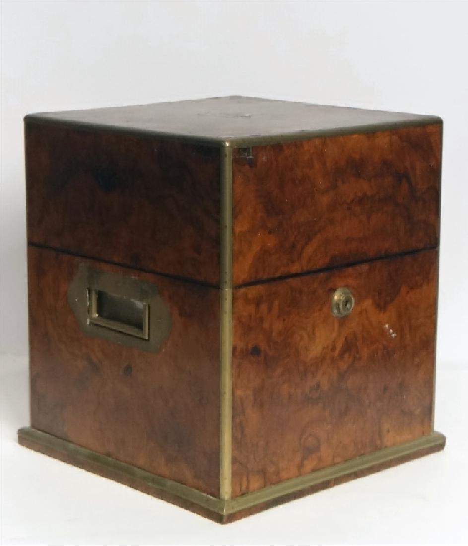 BRASS BOUND BURL WALNUT SPIRITS BOX W/ DECANTERS - 3