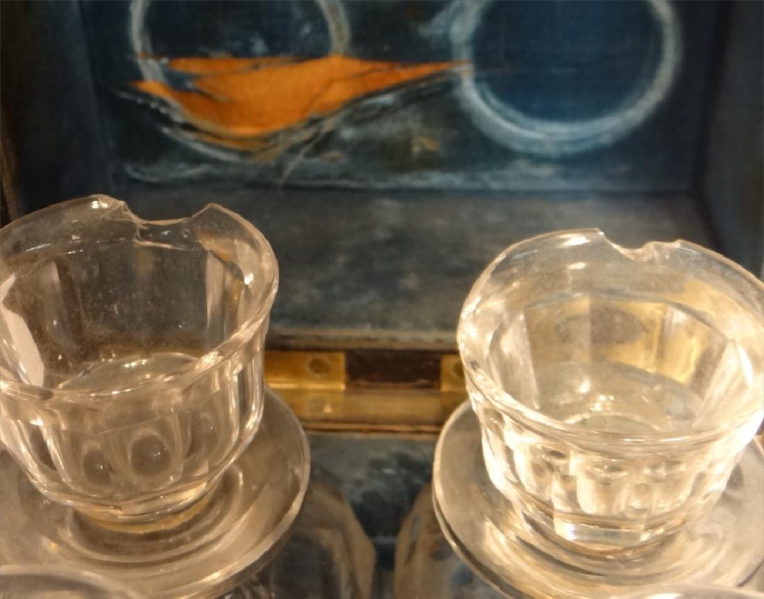 BRASS BOUND BURL WALNUT SPIRITS BOX W/ DECANTERS - 7