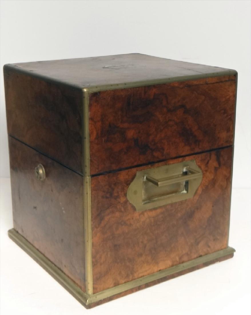 BRASS BOUND BURL WALNUT SPIRITS BOX W/ DECANTERS - 8