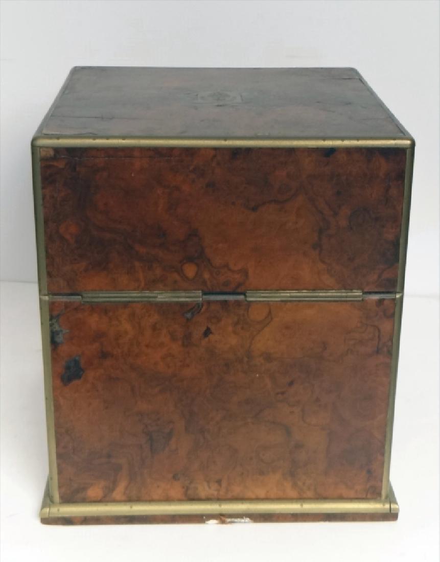 BRASS BOUND BURL WALNUT SPIRITS BOX W/ DECANTERS - 9