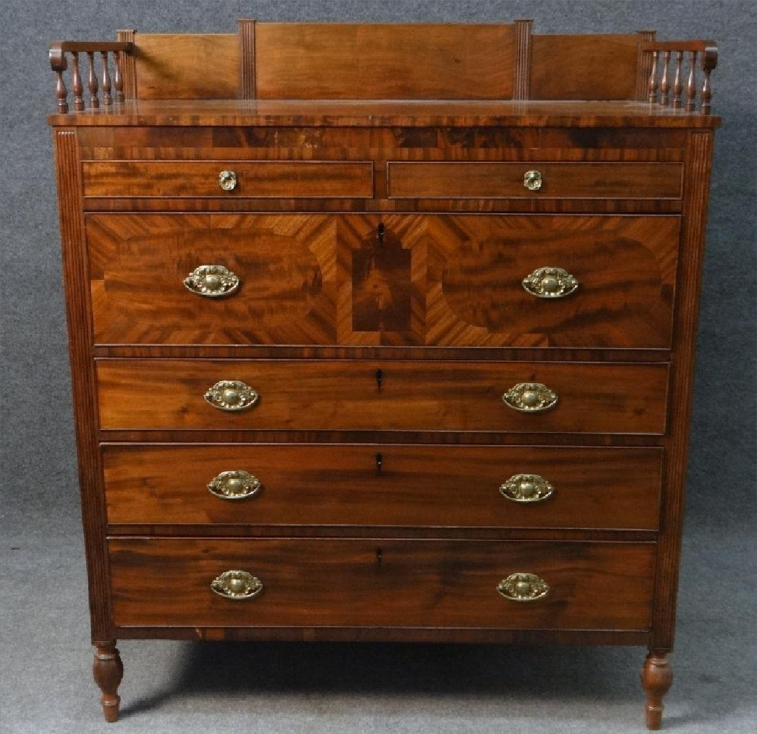 MAHOGANY SHERATON CHEST W/ GALLERY TOP