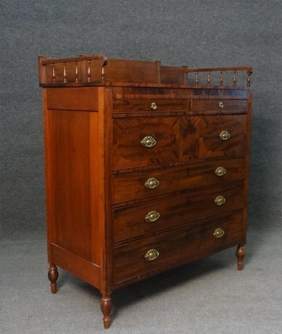 MAHOGANY SHERATON CHEST W/ GALLERY TOP - 3