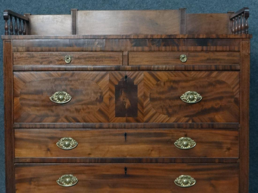MAHOGANY SHERATON CHEST W/ GALLERY TOP - 5