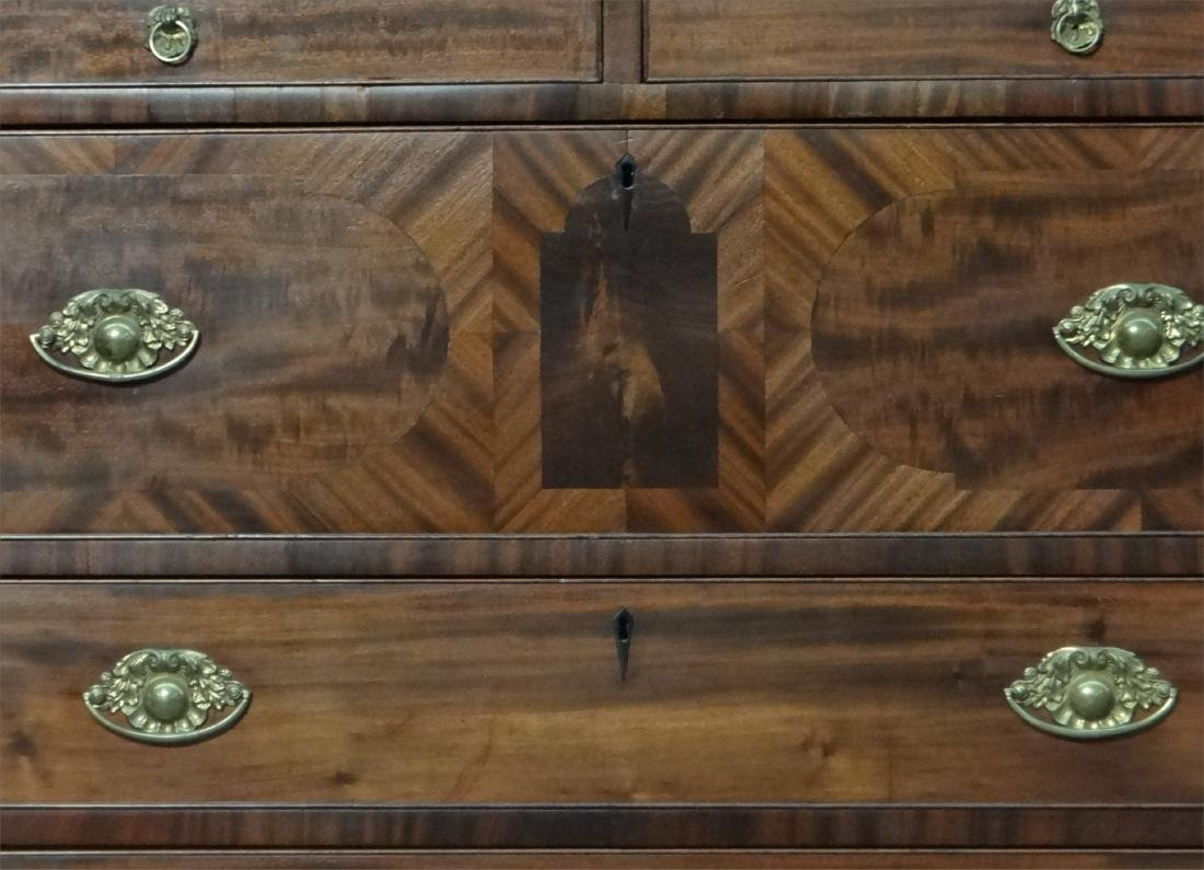 MAHOGANY SHERATON CHEST W/ GALLERY TOP - 6