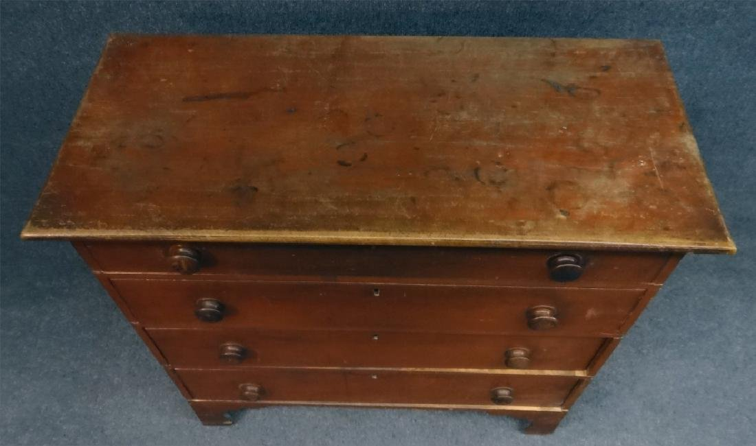 EARLY RED PAINTED COUNTRY CHIPPENDALE 4 DR CHEST - 6