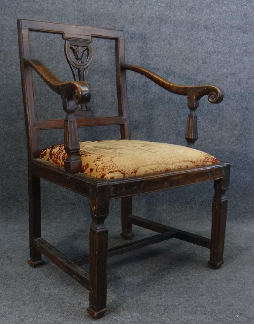 18THC. FRENCH ARM CHAIR W/ CARVED SPLAT