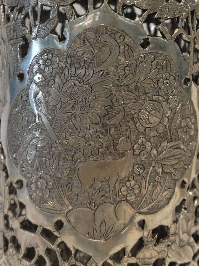 2 PIERCED WORK PERSIAN SILVER COVERED BOTTLES - 3