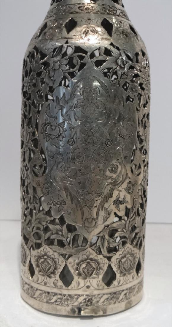 2 PIERCED WORK PERSIAN SILVER COVERED BOTTLES - 7