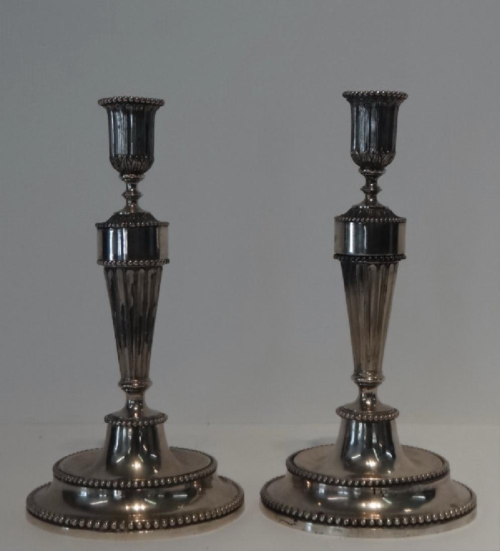PR OF 19THC. CONTINENTAL CANDLESTICKS HAND CHASED