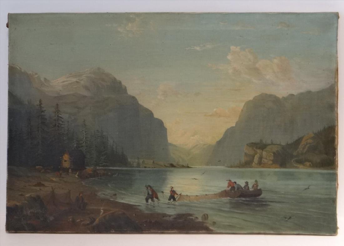 """O/C """"NETTING SALMON IN GREAT NORTH"""" 19THC. UNSGND"""