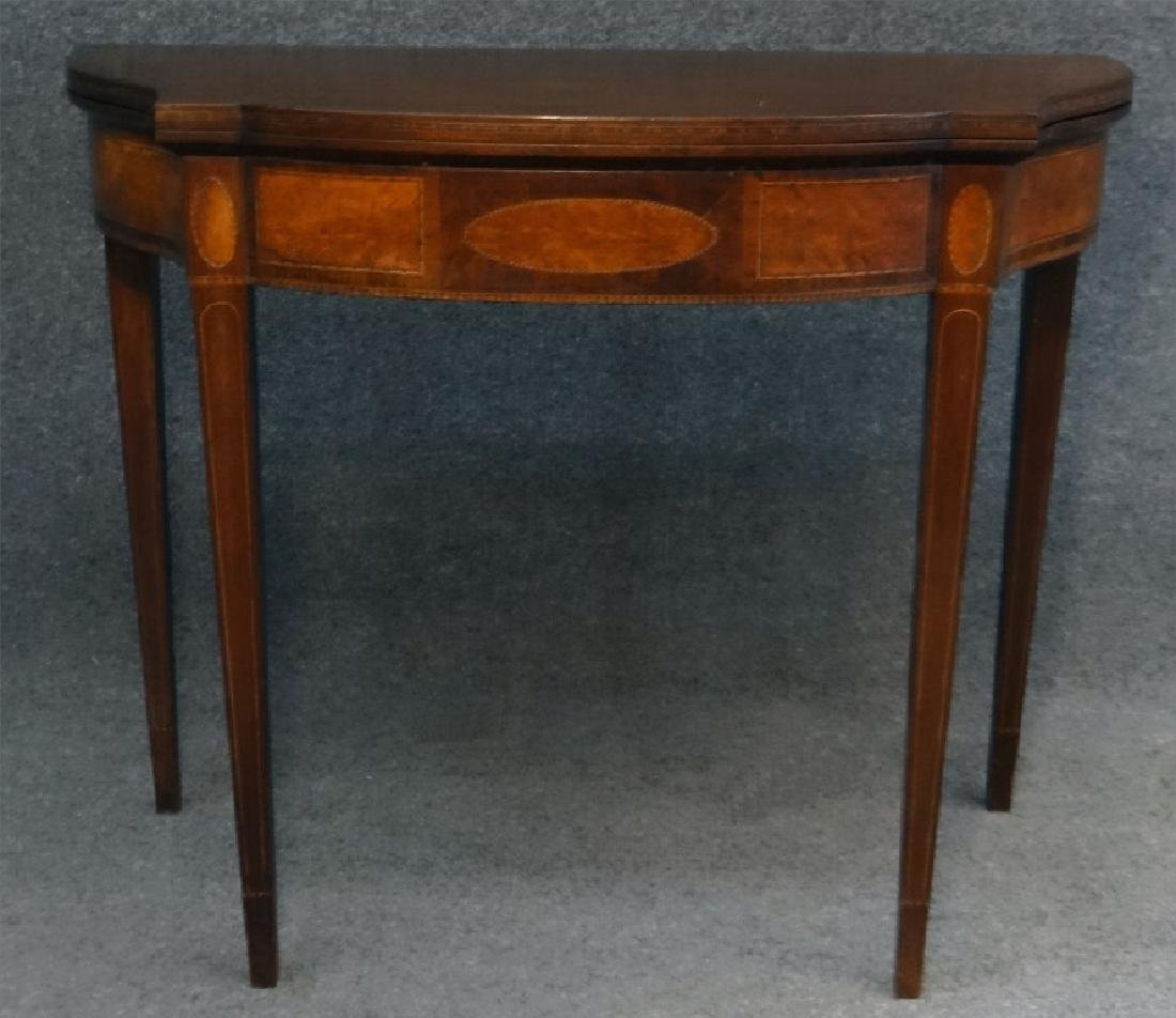 19THC. HEPPPLEWHITE REVIVAL CARD TABLE W/