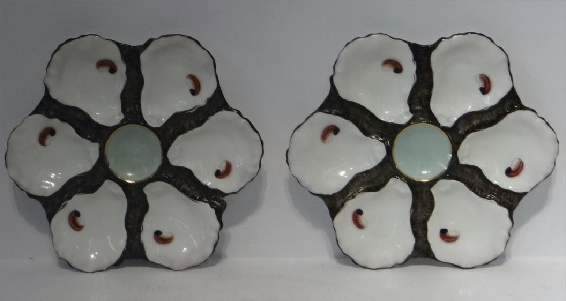PR OF HAND PAINTED HAVILAND LIMOGES OYSTER PLATES