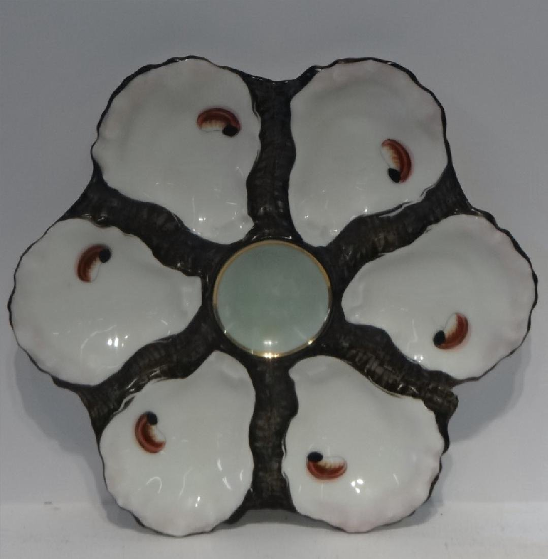 PR OF HAND PAINTED HAVILAND LIMOGES OYSTER PLATES - 2