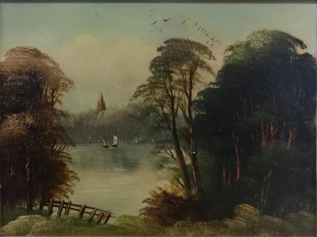 "O/PANEL ""LANDSCAPE NEAR NORWICH"" SGND H. BRIGHT - 3"