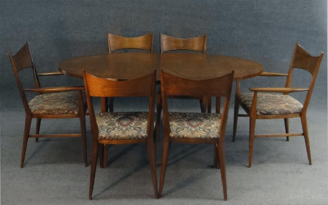 6 PAUL MCCOBB CHAIRS & TABLE W/ 2 LEAVES