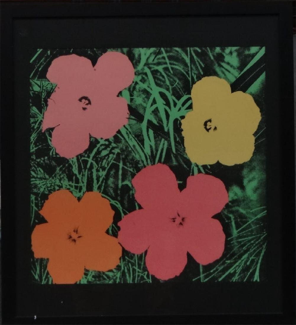 "ANDY WARHOL POSTER , 1964 ""FLOWERS"""