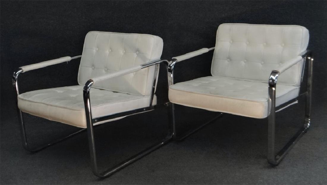 PR OF CHROME & LEATHERETTE MODERN CHAIRS BY MINTON
