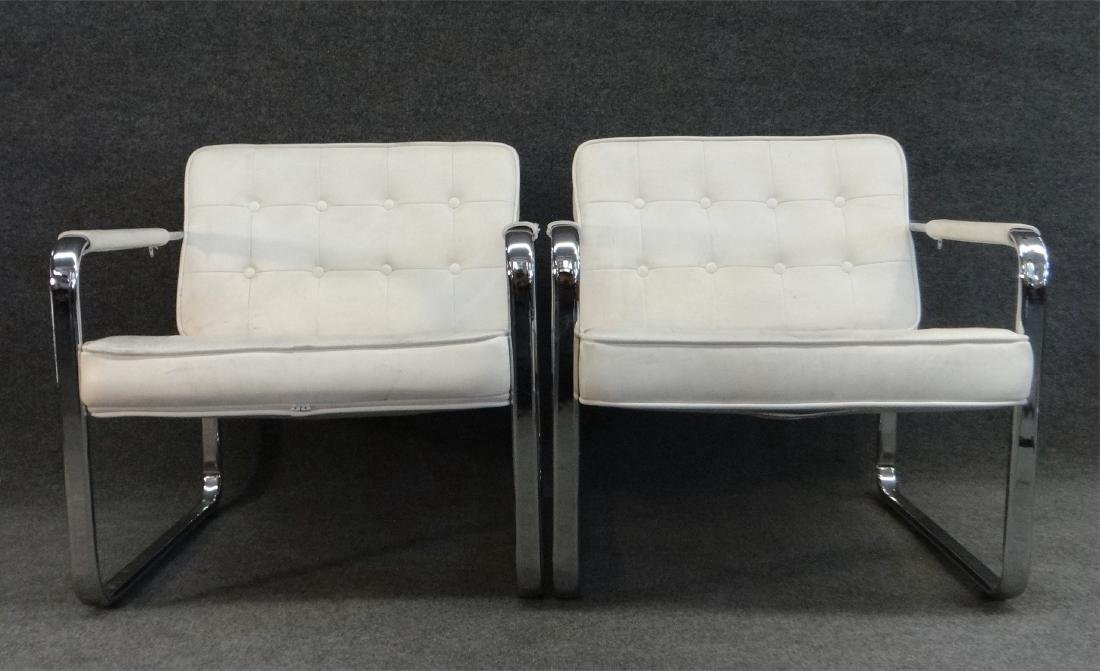 PR OF CHROME & LEATHERETTE MODERN CHAIRS BY MINTON - 2