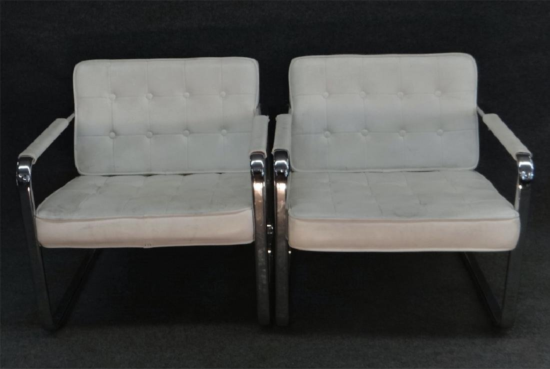 PR OF CHROME & LEATHERETTE MODERN CHAIRS BY MINTON - 3