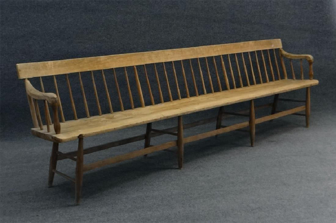 19THC. ROD BACK PLANK SEAT BENCH 9' LONG, REFINISH