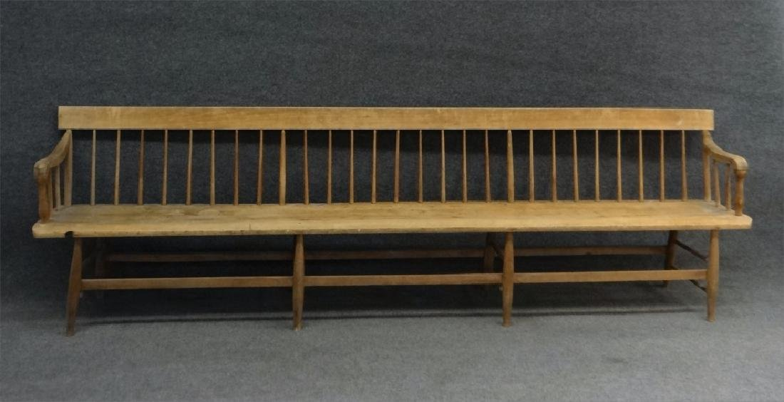19THC. ROD BACK PLANK SEAT BENCH 9' LONG, REFINISH - 2