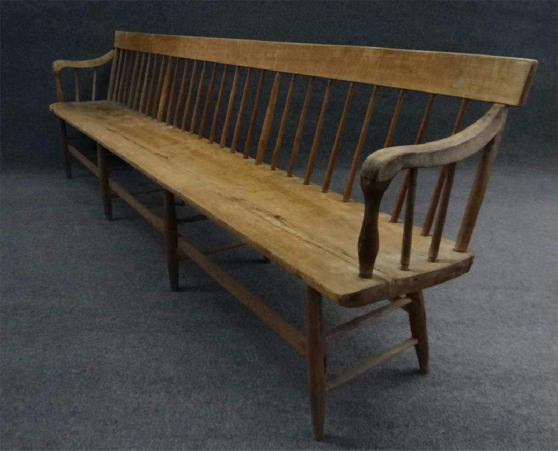 19THC. ROD BACK PLANK SEAT BENCH 9' LONG, REFINISH - 3